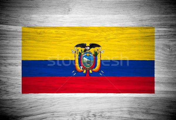 Ecuador zászló fa textúra fal természet háttér Stock fotó © pinkblue