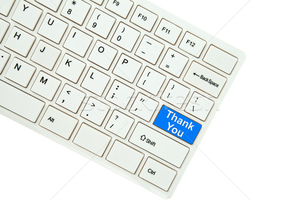 Wording thank you  on computer keyboard isolated on white backgr Stock photo © pinkblue