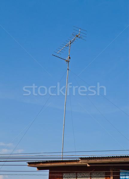 Televisão rádio antena telhado metal espaço Foto stock © pinkblue