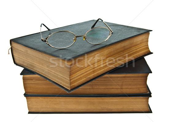Starych książek oka okulary odizolowany Zdjęcia stock © pinkblue