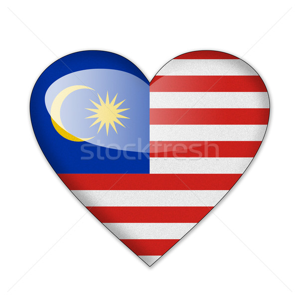 Stockfoto: Maleisië · vlag · hartvorm · geïsoleerd · witte · liefde