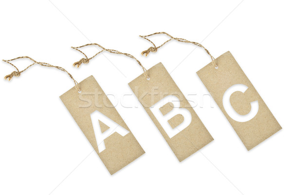 Brown paper tag with letter A B C cut Stock photo © pinkblue