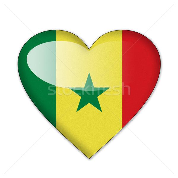 Szenegál zászló szív alak izolált fehér szeretet Stock fotó © pinkblue