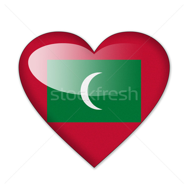 Stockfoto: Maldiven · vlag · hartvorm · geïsoleerd · witte · liefde