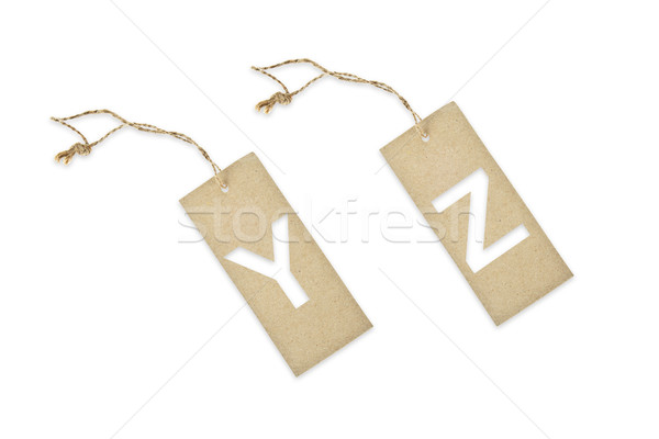 Brown paper tag with letter Y Z cut Stock photo © pinkblue