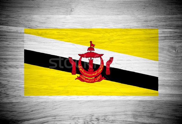 Бруней флаг текстура древесины стены природы красный Сток-фото © pinkblue
