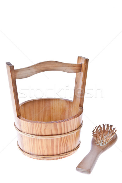 Fából készült vödör ecset gyógyszer fürdőszoba fürdő Stock fotó © pinkblue