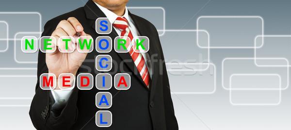 üzletember kéz rajz közösségi háló média üzlet Stock fotó © pinkblue