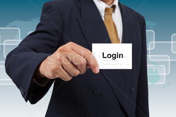 Biznesmen pokaż biały karty słowo login Zdjęcia stock © pinkblue