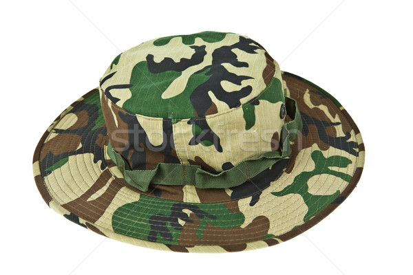 Katonaság álca kalap sivatag erdő háttér Stock fotó © pinkblue