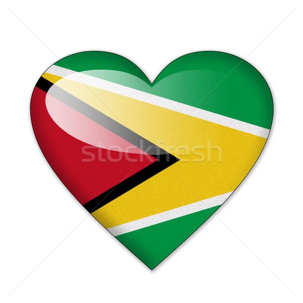 Guyana zászló szív alak izolált fehér szeretet Stock fotó © pinkblue
