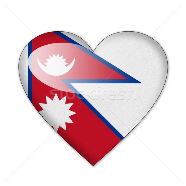 Nepal bayrak kalp şekli yalıtılmış beyaz sevmek Stok fotoğraf © pinkblue