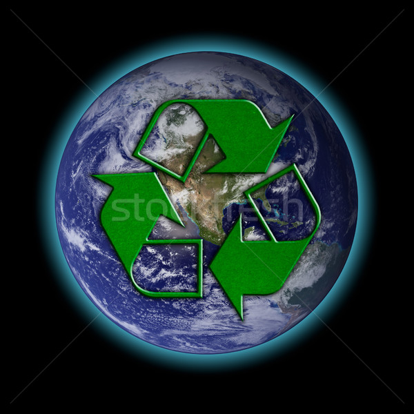 Recycle logo with earth Stock photo © pinkblue
