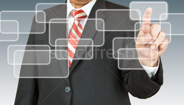 üzletember kéz toló képernyő billentyűzet jövő Stock fotó © pinkblue