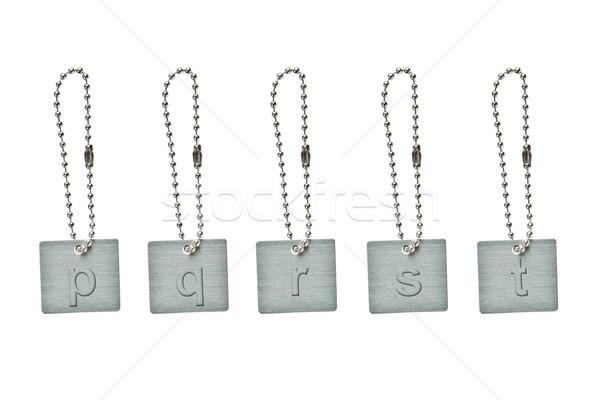 Zilver metaal sleutel tag klein brief Stockfoto © pinkblue