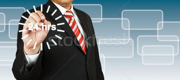Сток-фото: бизнесмен · 24 · час · круга · бизнеса · свет