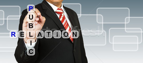 Businessman hand drawing Public Relation Stock photo © pinkblue