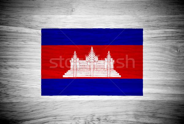Cambodja vlag houtstructuur gebouw muur natuur Stockfoto © pinkblue