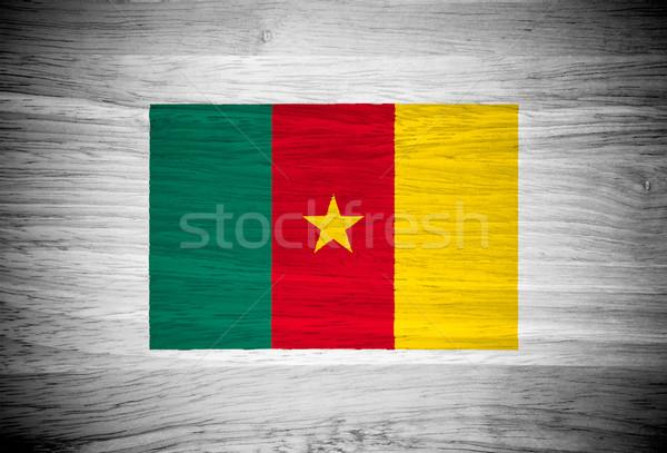 Kameroen vlag houtstructuur muur natuur achtergrond Stockfoto © pinkblue