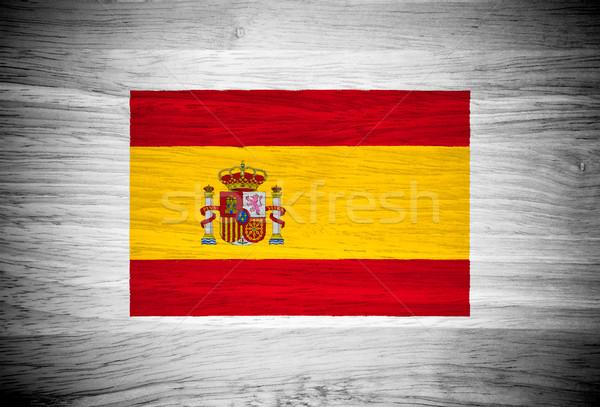 Spanje vlag houtstructuur muur natuur achtergrond Stockfoto © pinkblue