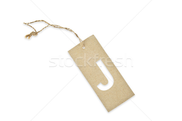 Brown paper tag with letter J cut Stock photo © pinkblue