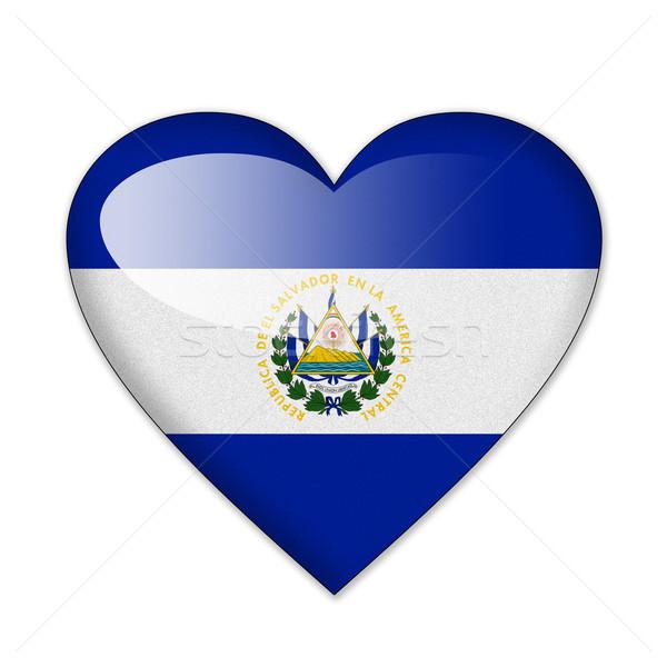 El Salvador bandeira forma de coração isolado branco amor Foto stock © pinkblue