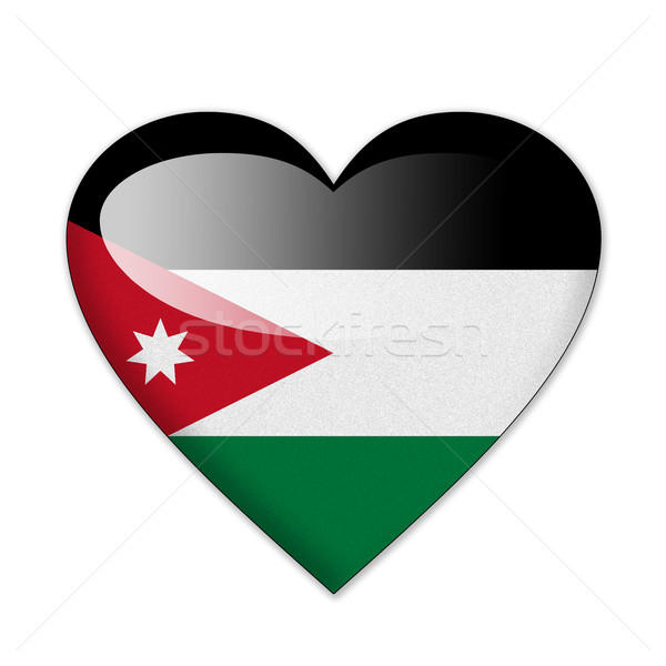 Jordan flag in heart shape isolated on white background Stock photo © pinkblue
