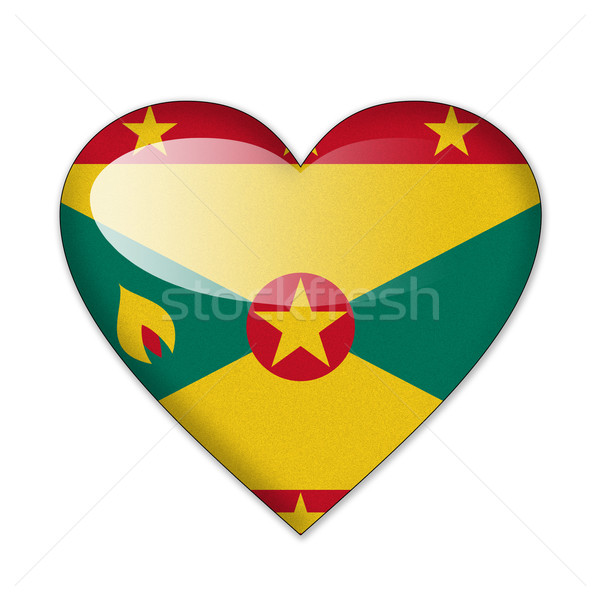 Grenada vlag hartvorm geïsoleerd witte liefde Stockfoto © pinkblue