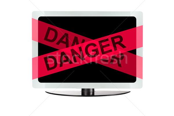 Számítógép piros veszély szalag billentyűzet háttér Stock fotó © pinkblue