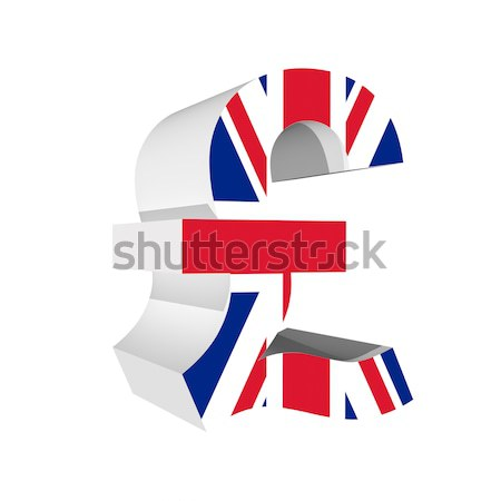 Poind symbol with UK flag 3D isolated on white background Stock photo © pinkblue