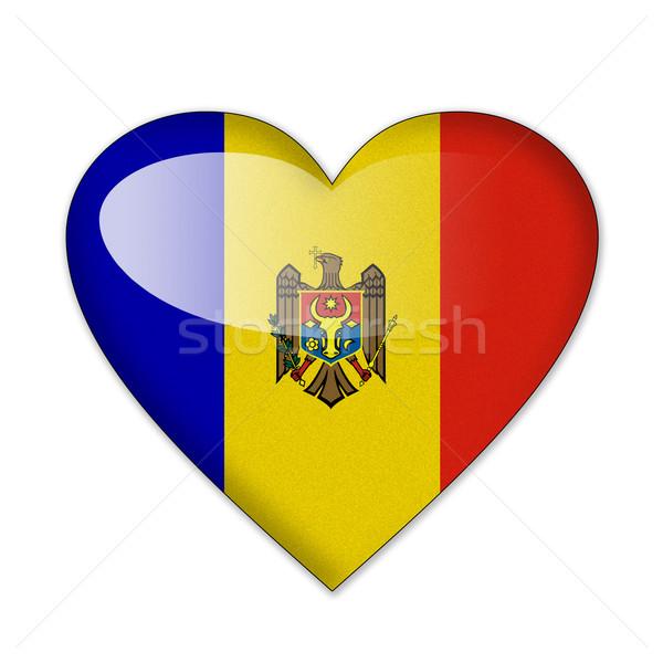 Stockfoto: Moldavië · vlag · hartvorm · geïsoleerd · witte · liefde
