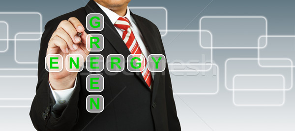 Businessman hand drawing Green Energy Stock photo © pinkblue