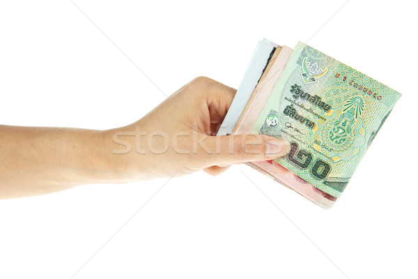 Thaibaht banknotes with hand isolated on white background Stock photo © pinkblue