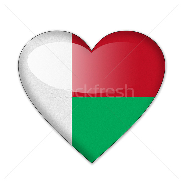 Madagascar flag in heart shape isolated on white background Stock photo © pinkblue