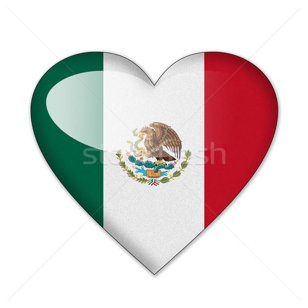 Meksyk banderą kształt serca odizolowany biały miłości Zdjęcia stock © pinkblue