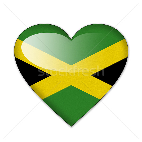 Jamaica flag in heart shape isolated on white background Stock photo © pinkblue
