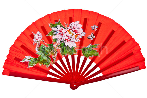 Red oriental chinese fan isolated on white background Stock photo © pinkblue
