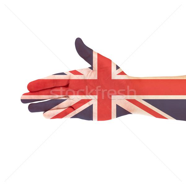 UK flag on hand Stock photo © pinkblue