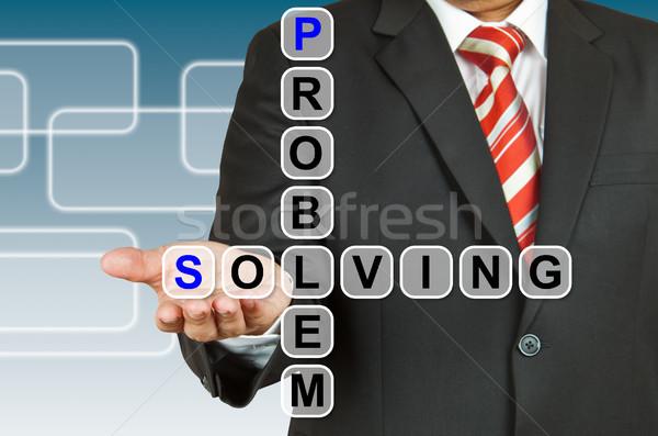 üzletember kéz rajz problémamegoldás üzlet ceruza Stock fotó © pinkblue
