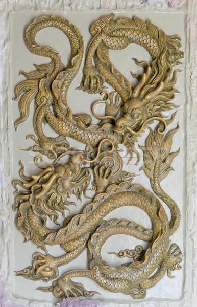 Smoka rzeźba ściany tle sztuki moc Zdjęcia stock © pinkblue