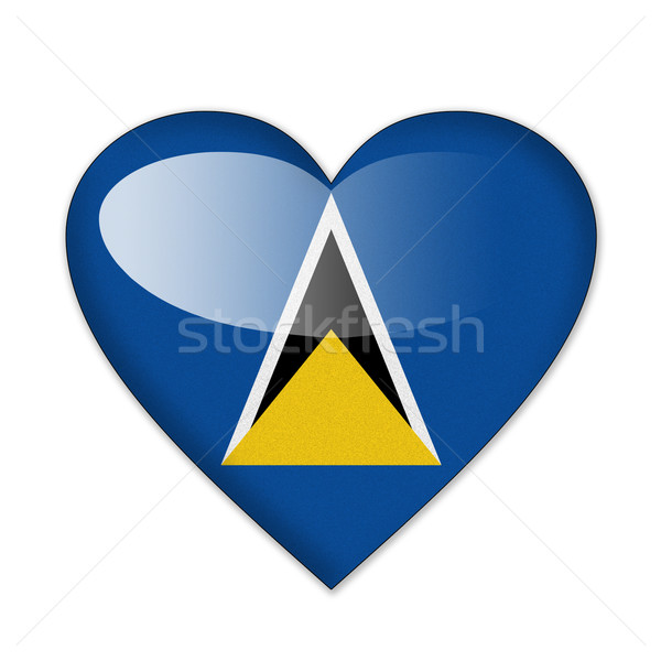 Saint Lucia flag in heart shape isolated on white background Stock photo © pinkblue