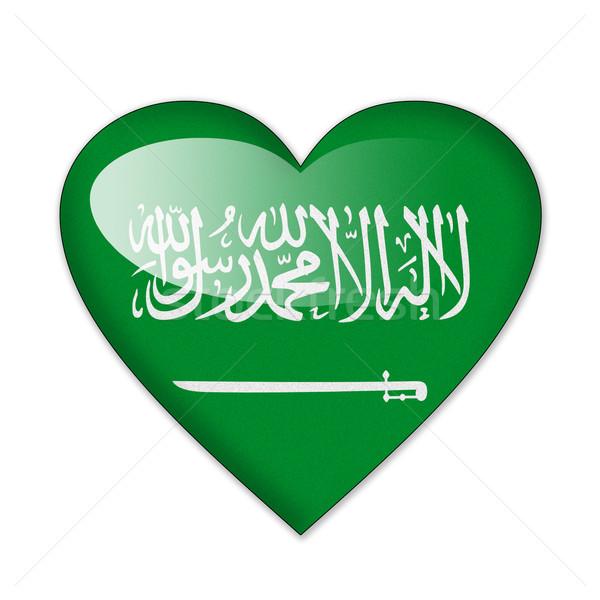 Saoedi-Arabië vlag hartvorm geïsoleerd witte liefde Stockfoto © pinkblue