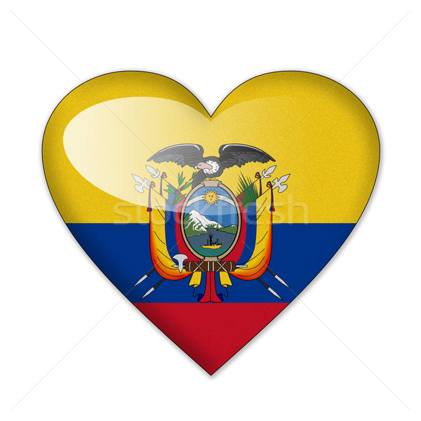 Ecuador flag in heart shape isolated on white background Stock photo © pinkblue