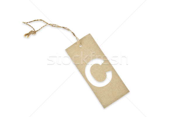 Brown paper tag with letter C cut Stock photo © pinkblue