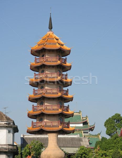 Pagoda cinese tempio cielo natura blu Foto d'archivio © pinkblue