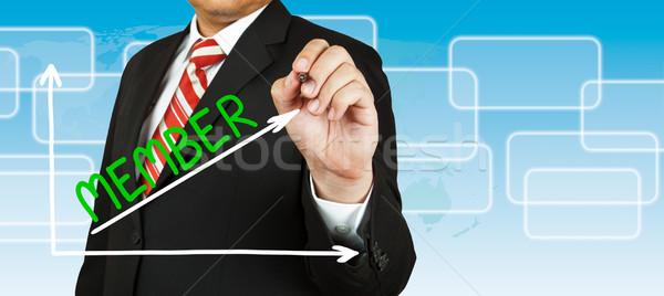 Stock fotó: üzletember · rajz · grafikon · tag · felfelé · ceruza