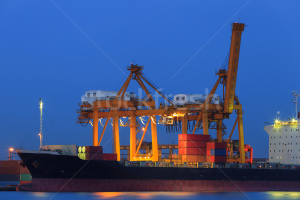 Stockfoto: Container · vracht · schemering · water · zee · boot