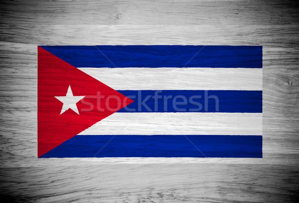 Cuba bandeira textura de madeira parede natureza quadro Foto stock © pinkblue