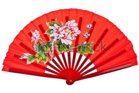 Oranje chinese fan geïsoleerd witte Stockfoto © pinkblue