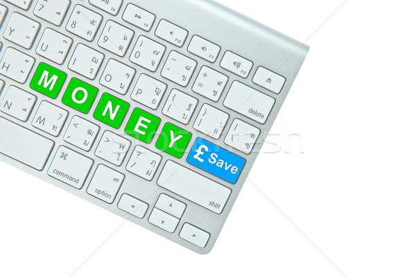 お金 保存 ボタン コンピュータのキーボード 孤立した 白 ストックフォト © pinkblue